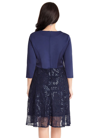 Navy Matte Sequins Abstract Mesh-Bottom Dress