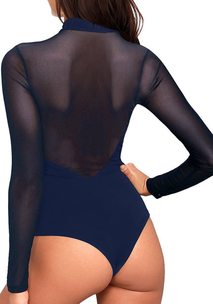 Back view of model wearing navy mock neck mesh long sleeves bodysuit