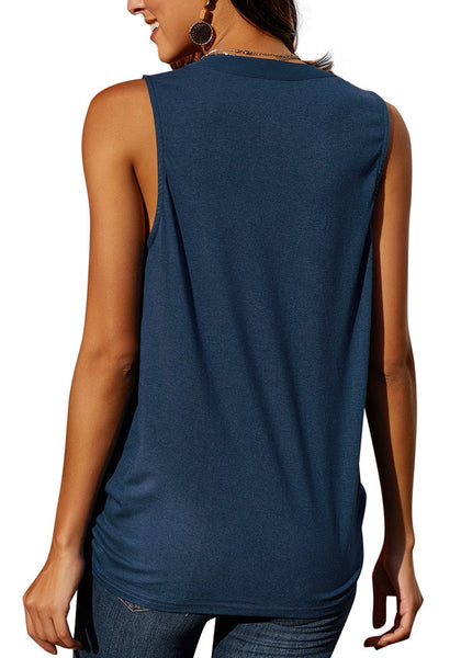Back view of model wearing navy notched V-neck crochet lace sleeveless top