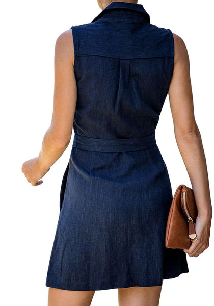 Back view of model wearing navy sleeveless lapel collar button-down belted dress