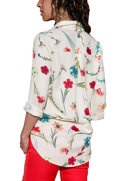 Back view of model wearing off-white floral long sleeves collared button-up top