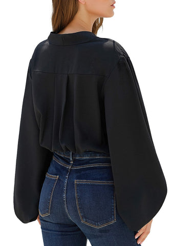 Black Lantern Sleeves Oversized Surplice Bodysuit