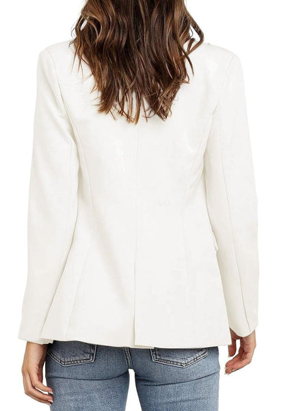 Back view of model wearing off white notch lapel double-breasted blazer