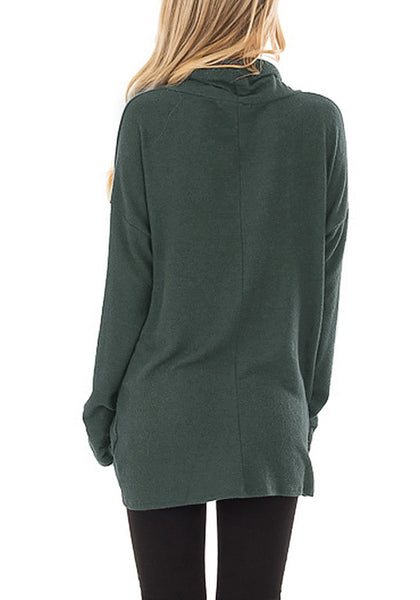 Back view of model wearing oilive green cowl neck side twist knot tunic top