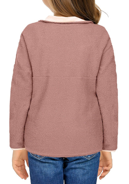 Back view of model wearing old rose button-front girl's fleece pullover