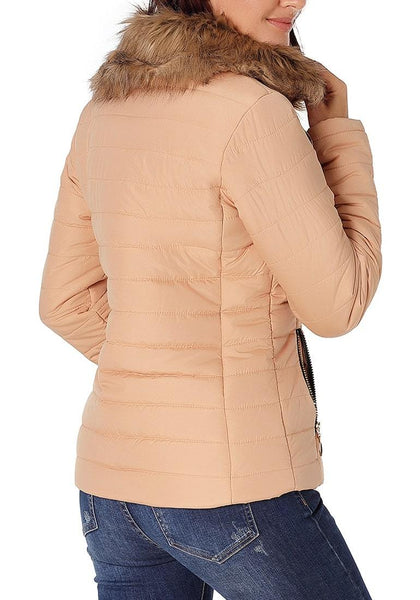 Back view of model wearing peach faux fur collar zip up quilted jacket