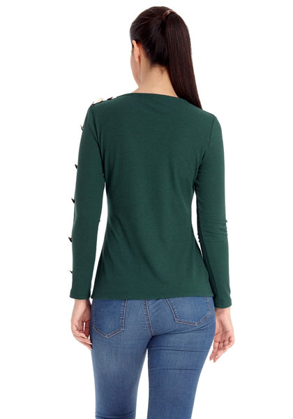 Back view of model wearing pine green button-embellished fitted top