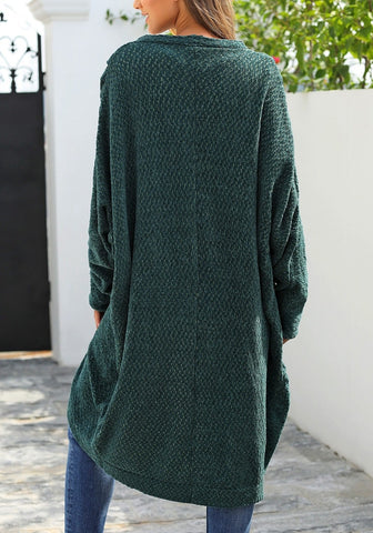 Pine Green Curved Hem Long Chennile Knit Cardigan
