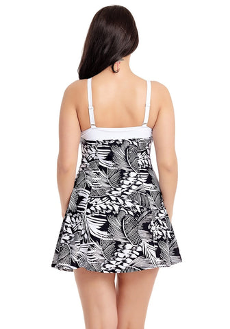 Black Abstract Leaf-Print One-Piece Skater Swimsuit