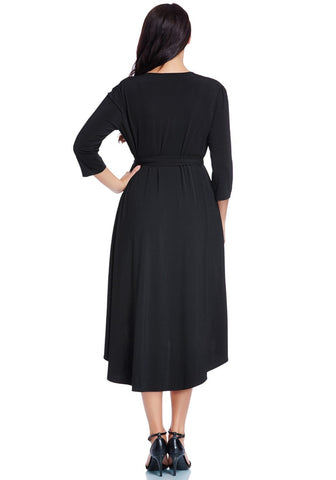 Plus Size Black High-Low Wrap Skater Dress