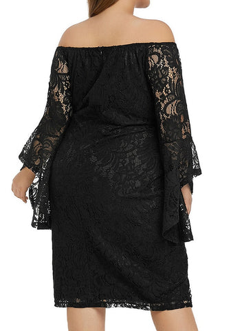 87e7cc5b8b8 Plus Size Black Trumpet Sleeves Lace Off-Shoulder Pencil Dress ...