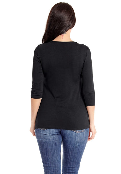 Back view of model wearing plus size black twist knot front V neckline top