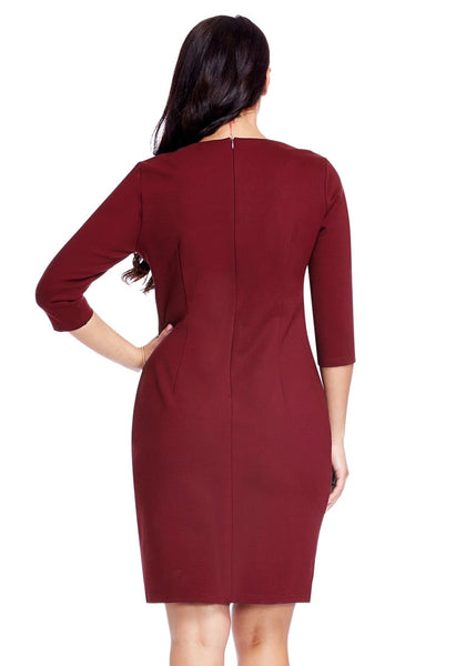 Back view of model wearing plus size burgundy decollete neckline pencil dress