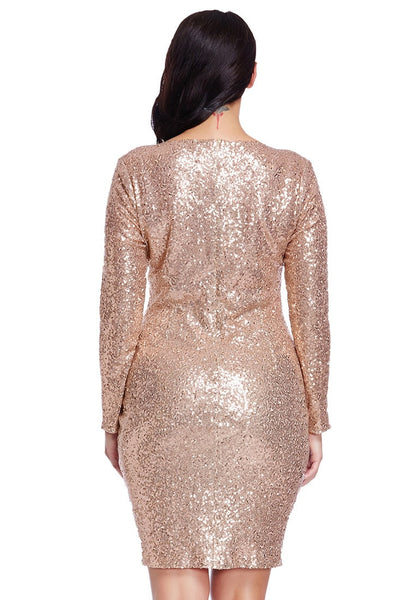 Back view of model wearing plus size champagne sequined party dress