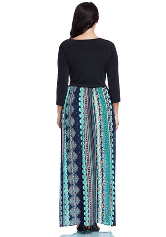 Plus Size Ethnic-Print Maxi Dress