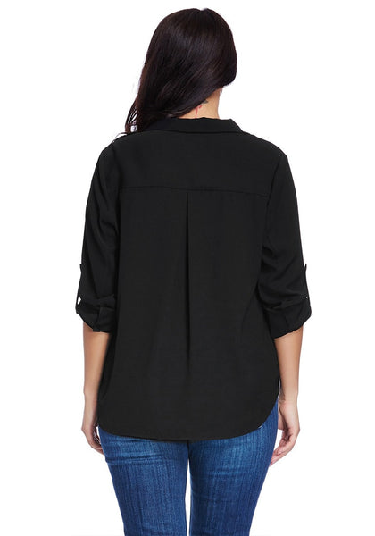 Back view of model wearing plus size front-zip black blazer
