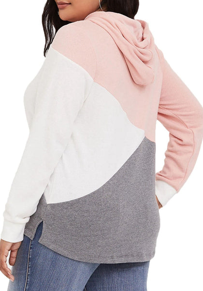 Back view of model wearing plus size light pink color block drawstring hoodie