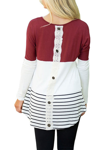 Port Color Block Striped Lace Button Tunic
