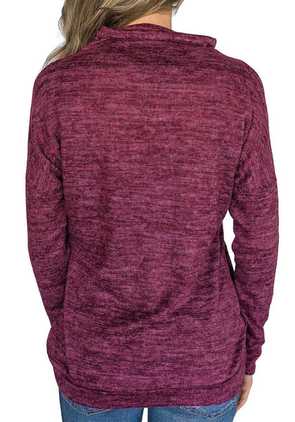Back view of model wearing purple kangaroo pocket cowl-neck heathered pullover top