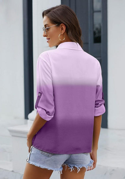 Back view of model wearing purple ombre long sleeves collared button-up shirt