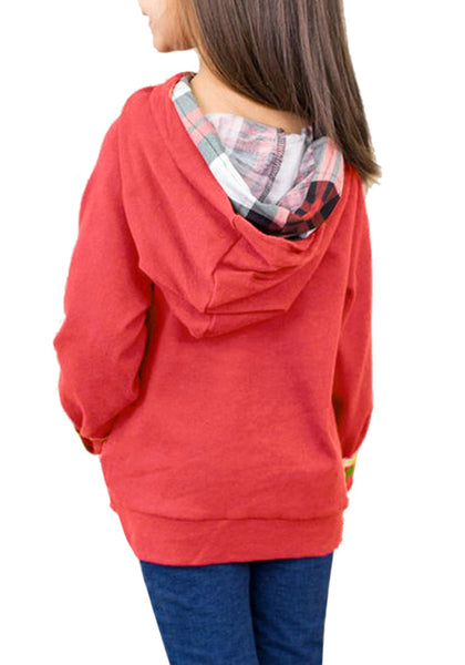 Back view of model wearing red oblique buttons double hood girl's pullover
