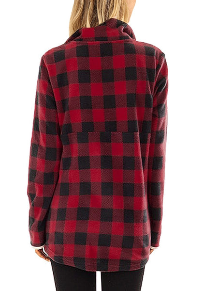 Back view of model wearing red plaid button-front fleece pullover