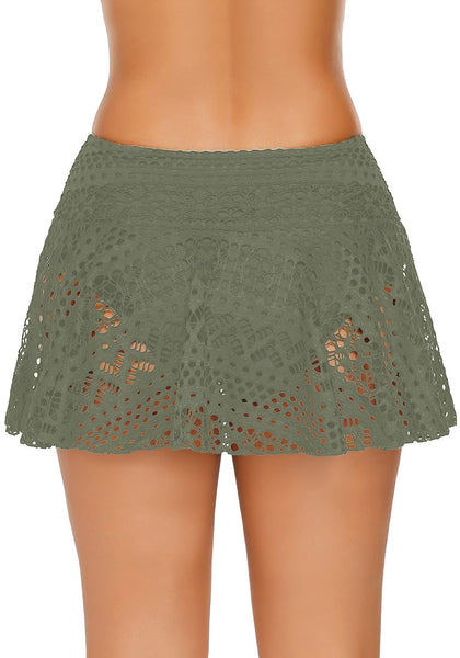 Back view of model wearing rmy green lace crochet swim skirt