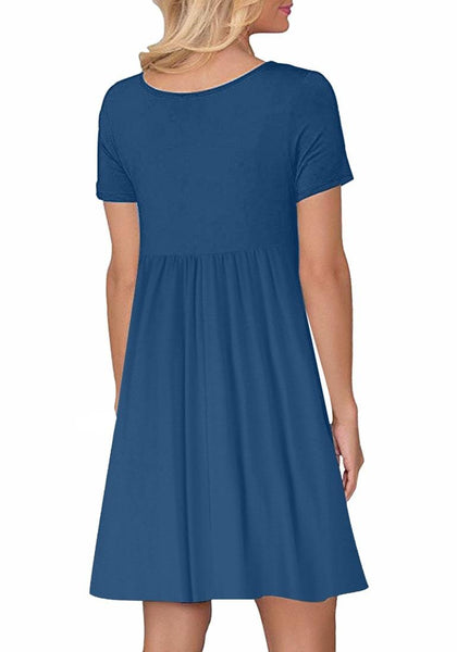 Back view of model wearing royal blue button-down short sleeves flowy swing dress