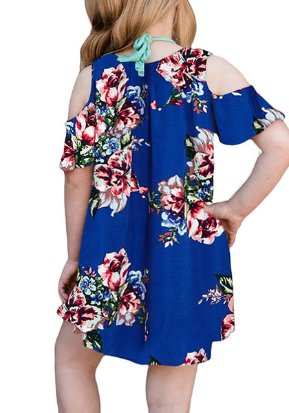 Back view of model wearing royal blue cold shoulder ruffle floral short sleeves girl tunic dress