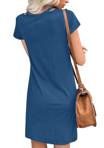 Royal Blue Cutout V-Neck Twist Knot Hem T-Shirt Dress