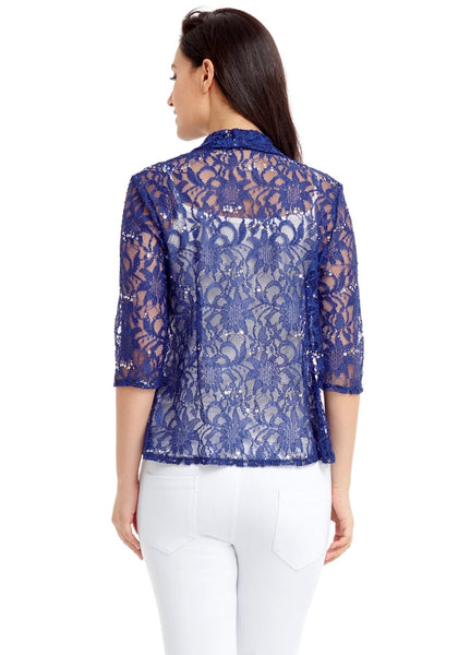 Back view of model wearing royal blue floral lace sequins sheer cardigan