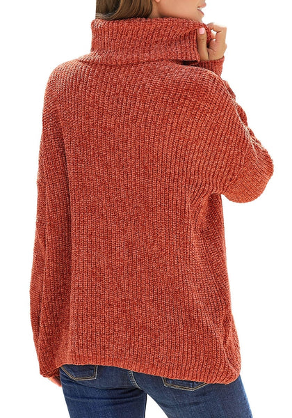 Back view of model wearing rust turtleneck velvet cable knit pullover sweater