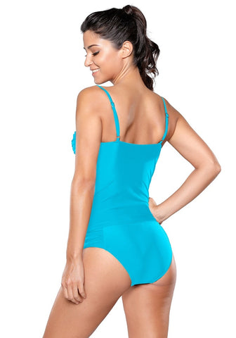 Sky Blue Ruched Tankini Set
