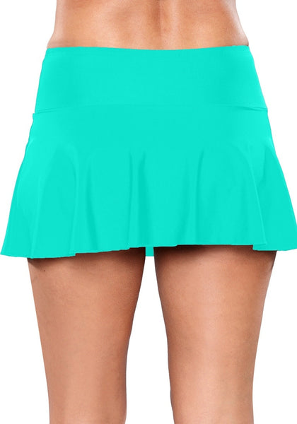 Back view of model wearing solid aqua blue flared swim skirt