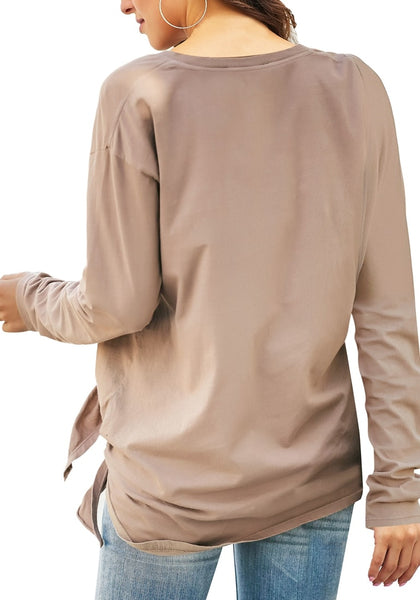 Back view of model wearing taupe V-neckline side-tie knot long sleeves loose top