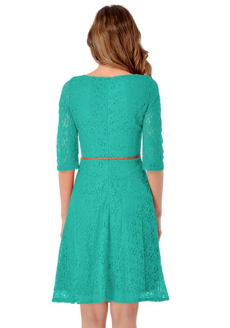 Turquoise Lace Crop Sleeves A-Line Dress