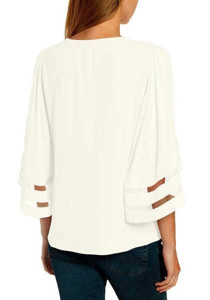 Back view of model wearing white 34 bell mesh panel sleeves V-neckline front twist knot loose top