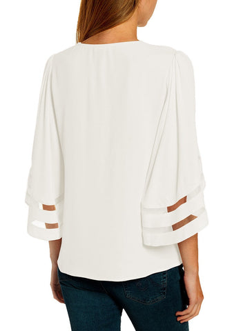 White 3/4 Bell Mesh Panel Sleeves V-Neckline Loose Top