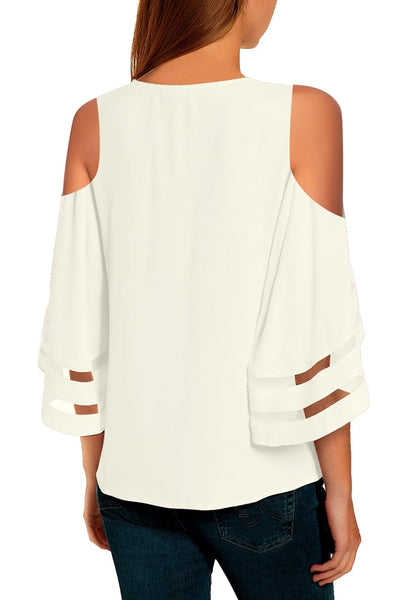 Back view of model wearing white 34 bell mesh panel sleeves cold-shoulder loose top