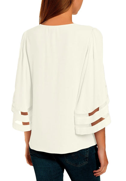 Back view of model wearing white 34 bell mesh panel sleeves tie-front button-up loose top
