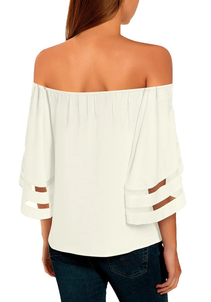 Back view of model wearing white 34 bell mesh panel sleeves tie-front off-shoulder top