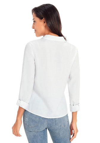 White 3/4 Sleeves Tie-Front Button-Up Blouse