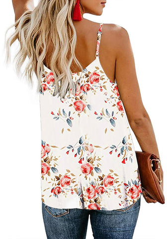 White V-Neck Button-Down Floral Loose Tank Top