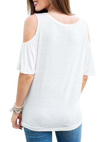 White V-Neckline Button-Up Cold-Shoulder Tie-Front Blouse