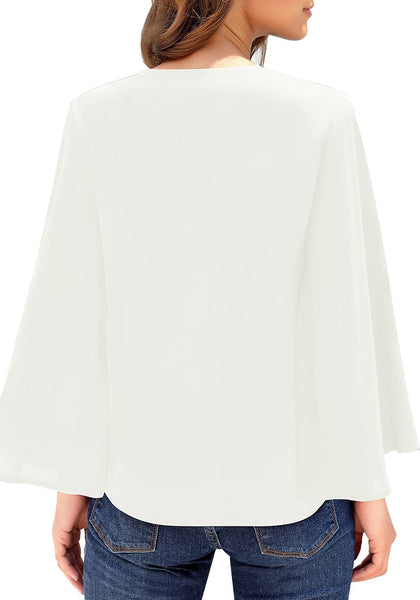 Back view of model wearing white V-neckline button loop loose top