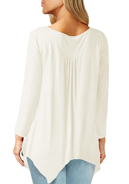 Back view of model wearing white asymmetrical long sleeves loose henley tunic top
