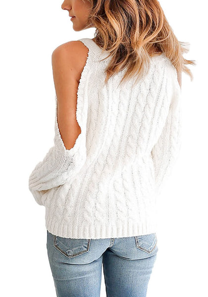 Back view of model wearing white cold-shoulder cable knit sweater