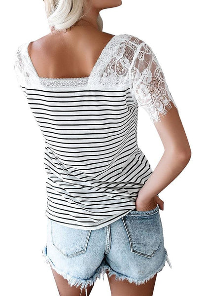 Back view of model wearing white crochet lace short sleeves striped V-neckline top