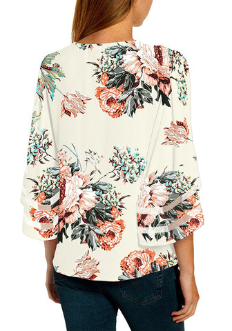 White Floral 3/4 Bell Mesh Panel Sleeves V-Neckline Front Twist Knot Loose Top