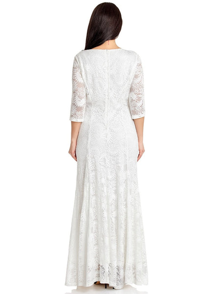 Back view of model wearing white floral lace overlay sweetheart neckline maxi dress